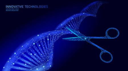 Struttura del DNA 3D che modifica il concetto di medicina. La terapia genica a triangolo poligonale basso cura la malattia genetica. Ingegneria OGM CRISPR Cas9 innovazione tecnologia moderna scienza banner illustrazione vettoriale Vettoriali