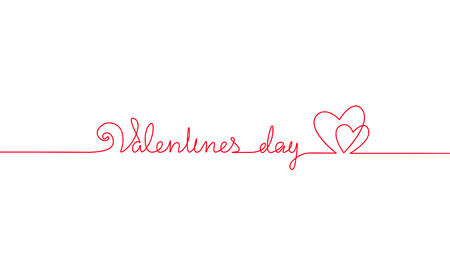 Happy Valentine Day continuous one line art. Hand drawn sketch romantic date greeing holiday card. Two love heart shape lineart minimalistic lettering vector illustration