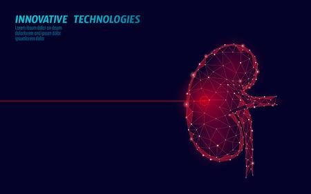 Operacja laserowa chirurgii ludzkiej nerek low poly. Medycyna farmakologiczna leczenie bolesnym obszarem. Czerwone trójkąty wielokątny kształt renderowania 3D. Ilustracja wektorowa szablon odzyskiwania raka kamieni aptecznych