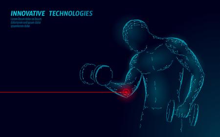 Manntraining mit Hantelellenbogenverletzung. Roter schmerzhafter Bereich polygonales Sportmedizin-Zusammenfassungskonzept. Starkes Bodybuilding verletzte das Schmerz-Fitness-Problem. Gesundheitswesen Sportler-Vektor-Illustration