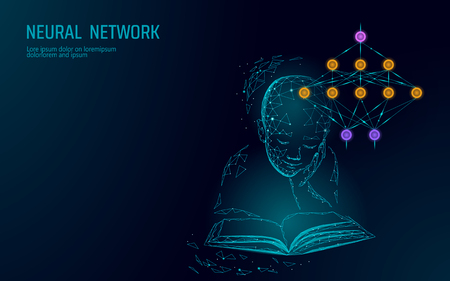 Child education online concept. Artificial neural network technology science medicine cloud computing. AI 3D abstract biology system. Polygonal blue glowing vector illustration art