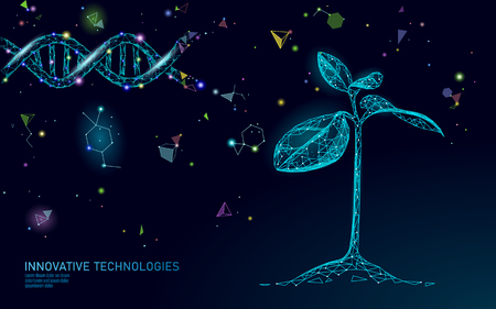 Plant sprout biotechnology abstract concept. 3D render seedling tree leaves DNA genome engineering vitamin supplement. Medical science life eco polygon triangles low poly vector illustration art
