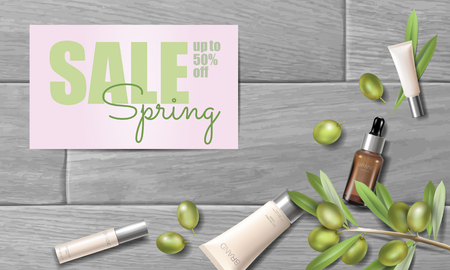 Realistic organic olive oil cosmetics ad. Natural essence farm plant spring sale offer promo mesh 3D wooden plank promotional poster template. Web banner woman glass face cream vector illustration art Vector Illustration