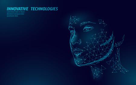 Biometrische Identifizierung des menschlichen Gesichts mit niedrigem Poly-Wert. Konzept des Anerkennungssystems. Innovative Technologie zum sicheren Zugriff auf personenbezogene Daten. 3D-Polygonal-Rendering-Vektor-Illustration