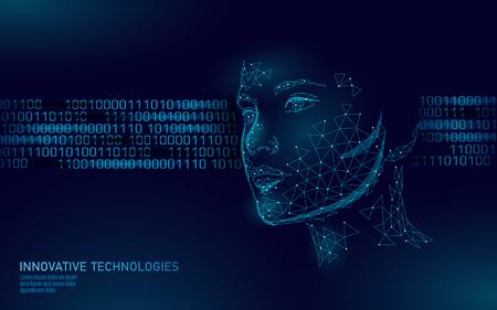 Identificación biométrica de rostro humano femenino de baja poli. Concepto de sistema de reconocimiento. Tecnología de innovación de escaneo de acceso seguro de datos personales. Ilustración de vector de renderizado poligonal 3D Ilustración de vector