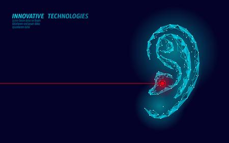 Día mundial de la audición sorda. Órgano del oído humano bajo poli. Triángulo poligonal punto línea partícula innovación futurista centro médico ayuda prevención conciencia vector ilustración cartel