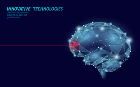 Brain treatment low poly 3D render. Drug nootropic human ability stimulant smart mental health. Medicine cognitive rehabilitation in Alzheimer disease and dementia patient vector illustration