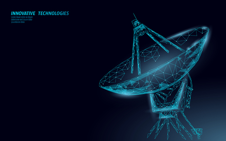 Polygonal radar antenna space defence abstract technology concept. Scanning detect military danger maneuver wireframe mesh 3D warfare. Satellite weapon aiming vector illustration art