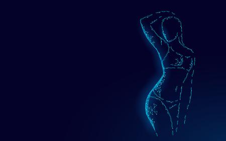 Woman slim shape silhouette low poly. Fitness beauty girl graceful body. Dark blue polygonal motivation gym dance class banner template vector illustration art
