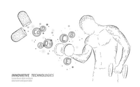Dietary supplement vitamin bodybuilding capsule. Fitness shape drug medicine science chemistry innovation technology polygonal 3D render. Muscle power increase dumbbell vector illustration Vector Illustration