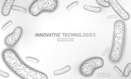 Bacteria 3D low poly render probiotics. Healthy normal digestion flora of human intestine yoghurt production. Modern science technology medicine allergy immunity thearment vector illustration art Çizim