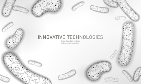 Bakterien 3D-Low-Poly-Render-Probiotika.