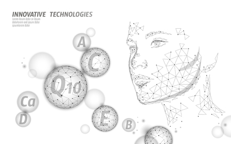 Healthy skin vitamin complex low poly sphere bubble. Health supplement female face anti-aging beauty cosmetics banner template. 3D coenzyme Q10, C, E. Medicine science vector illustration art