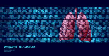 Healthy lungs respiratory internal organs. Binary code data flow. Doctor online innovative technology vector illustration art Illustration