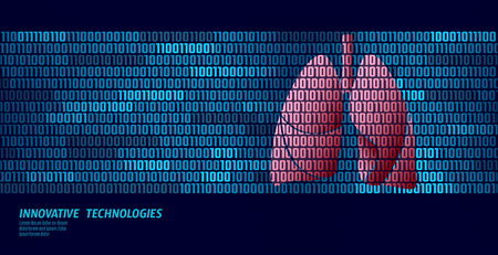 Healthy lungs respiratory internal organs. Binary code data flow. Doctor online innovative technology vector illustration 写真素材