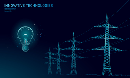 Low poly high voltage power line idea bulb. Electricity supply industry pylons outlines on dark night blue sky. Innovation electrical technology solution banner template vector illustration art