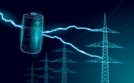 Charged polygonal alkaline battery power line. High voltage electrical tower pylon. Lightning thunder low poly polygon particle space dark sky industry technology concept vector illustration art Ilustração