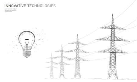 Low poly high voltage power line idea bulb. Electricity supply industry pylons outlines black white. Innovation electrical technology solution banner template vector illustration art Standard-Bild - 118160126