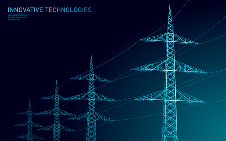 Low poly high voltage power line silhouette. Electricity supply industry pylons outlines on dark night blue sky. Innovation ecectrical technology banner template vector illustration art