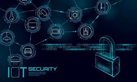 IOT cyber security padlock concept. Personal data safety Internet of Things smart home cyber attack. Hacker attack danger firewall innovation system vector illustration