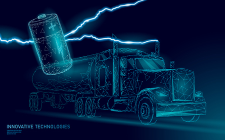 Power battery electric truck low poly.Rechargeable ecological environment green transport business trailer. Fast speed semi-trailer perspective view on highway. 3D vector illustration art