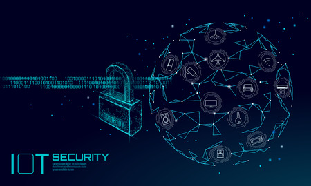IOT cyber security padlock concept. Personal data safety Internet of Things smart home cyber attack. Hacker attack danger firewall innovation system vector illustration art