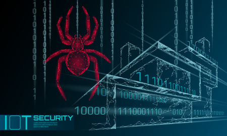 Smart house IOT cybersecurity spider concept. Personal data safety Internet of Things cyber attack. Hacker attack danger firewall innovation system vector illustration art