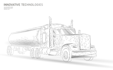 American truck low poly. Logistic transportation business trailer. Fast speed industry cargo delivery big heavy vehicle perspective view on highway. 3D vector illustration art Çizim
