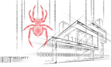 Smart house IOT cybersecurity spider concept. Personal data safety Internet of Things cyber attack. Hacker attack danger firewall innovation system vector illustration