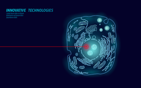 Microscopic animal cell. Modified GMO human cell gene therapy engeneering. Dark blue glowing red laser vector illutration