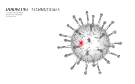 Virus cell low poly structure. Disease infection medicine healthcare concept.