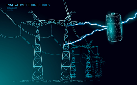 Charged polygonal alkaline battery power line. High voltage electrical tower pylon. Lightning thunder low poly polygon particle space dark sky industry technology concept vector illustration Standard-Bild - 121045440