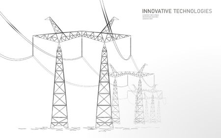 Low poly high voltage power line silhouette. Electricity supply industry pylons outlines on dark night blue sky. Innovation ecectrical technology banner template vector illustration Standard-Bild - 121045441