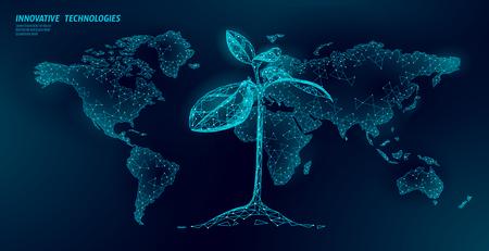 Concept abstrait écologique de germes de plantes. Feuilles d'arbre de semis de rendu 3D. Sauver la planète Terre nature environnement grandir vie eco polygone triangles low poly vector illustration art Vecteurs
