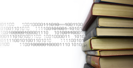 Stack of multicolored books. Old textbooks stacked on each other. Online education technology concept. E-learning training skill courses. Binary code flow data information banner template