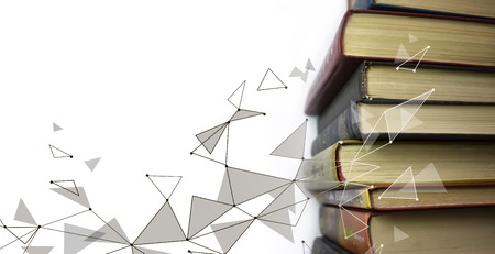 Stack of multicolored books. Old textbooks stacked on each other. Online education technology concept. E-learning training skill courses. Geometric polygonal data information banner template