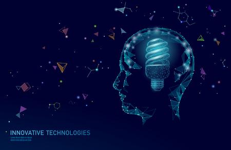 Human brain IQ smart business concept. Fluorescent lamp ecology idea brain power. Brainstorm creative idea project work low poly polygonal vector illustration