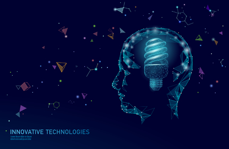 Human brain IQ smart business concept. Fluorescent lamp ecology idea brain power. Brainstorm creative idea project work low poly polygonal vector illustration