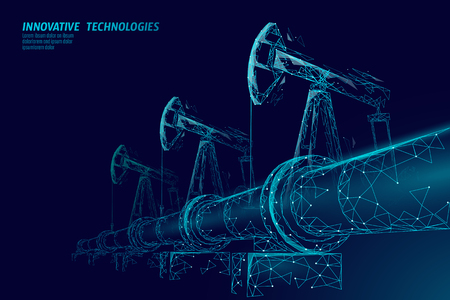 Oil pipeline low poly business concept. Finance economy polygonal petrol production. Petroleum fuel industry transportation line connection dots blue vector illustration Stock Photo