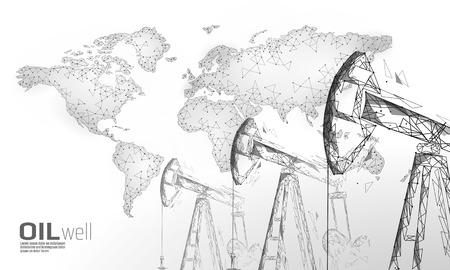 Concept d'entreprise low poly juck de plate-forme de puits de pétrole. Financer la production d'essence polygonale de l'économie. Les derricks de pompage de l'industrie des carburants pétroliers pompent des points de connexion de ligne de forage illustration vectorielle blanche