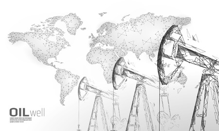 Oil well rig juck low poly business concept. Finance economy polygonal petrol production. Petroleum fuel industry pumpjack derricks pumping drilling line connection dots white vector illustration