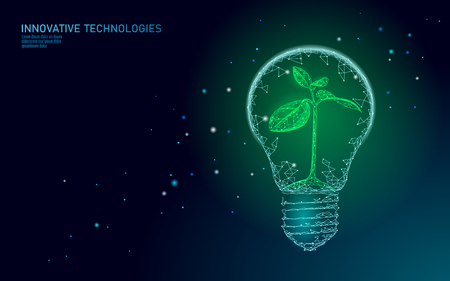 Glühbirne Lampe Energiesparkonzept Ökologie. Polygonaler hellblauer Spross kleiner Pflanzensämling im Inneren des Stroms grüne Energie macht Banner-Vektor-Illustrationskunst