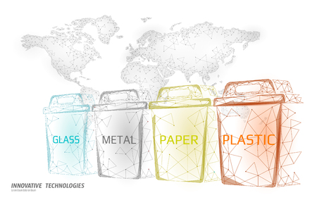 Low poly waste separation world map concept. Garbage recycle plastic aluminium paper glass container bin. Polygonal ecological save planet campaign. Urban trash banner vector illustration art