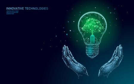 Zwei Hände, die Glühbirnenlampe tragen, die Energieökologiekonzept spart. Polygonaler hellblauer Spross kleiner Pflanzensämling im Inneren des Stroms grüne Energie macht Banner-Vektor-Illustrationskunst