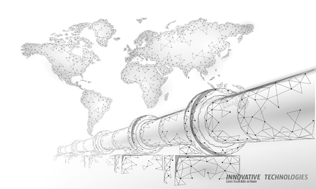Oil pipeline world map business concept. Finance economy polygonal petrol production. Petroleum fuel industry transportation line connection dots white vector illustration art