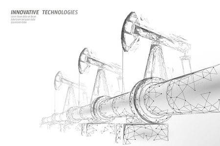 Low-Poly-Geschäftskonzept der Ölpipeline. Finanzwirtschaft polygonale Benzinproduktion. Erdölkraftstoffindustrie Transportleitungsverbindungspunkte weiße Vektorillustrationskunst Vektorgrafik