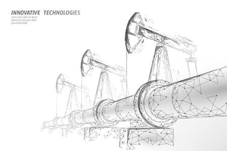 Oil pipeline low poly business concept. Finance economy polygonal petrol production. Petroleum fuel industry transportation line connection dots white vector illustration art