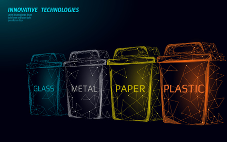 Low poly waste separation 3D concept. Garbage recycle plastic aluminium paper glass container bin. Polygonal ecological save planet campaign. Urban trash movement banner vector illustration art Çizim