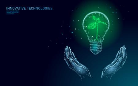 Main tenant le concept d'écologie de l'énergie économisant la lampe Ampoule. Semis de petite plante polygonale à germes bleus à l'intérieur de l'électricité verte énergie puissance bannière vector illustration art Vecteurs