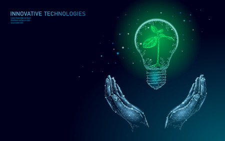 Hand holding light Bulb lamp saving energy ecology concept. Polygonal blue sprout small plant seedling inside electricity green energy power banner vector illustration art